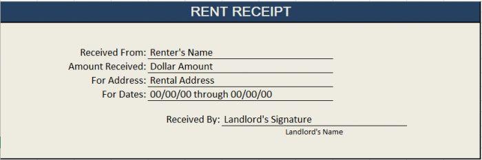 Rent Receipt Template Excel 01