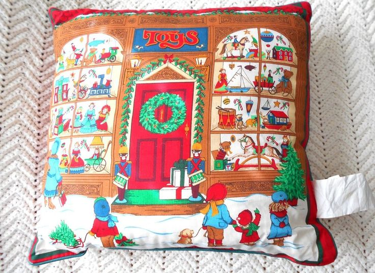 "Vintage Toy Store Christmas Pillow 17"" x 17"" USA Victorian Design Children Dog #ArleeHomeFashions #Holiday"