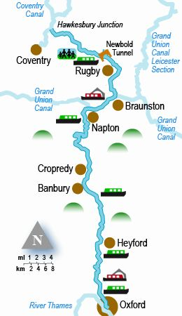 The Oxford Canal holiday cruising guide and map.