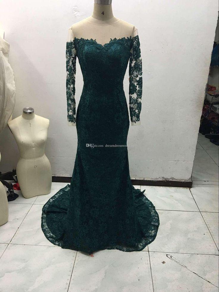 2016 Hot Unser wahres Bild Smaragd Juwel Nixe-Spitze-Abend-Kleider nach Maß lange Hülsen-Frauen-Abschlussball-Kleider formale Kleider Günstige