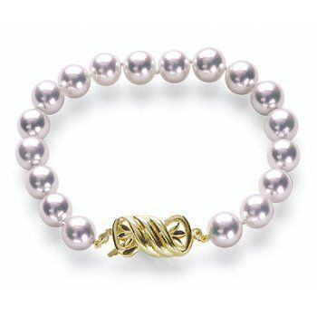 "8x8.5mm AA Quality Japanese Akoya saltwater cultured pearl bracelet 8"" with 18K Gold Clasp American Pearl. $1211.00"