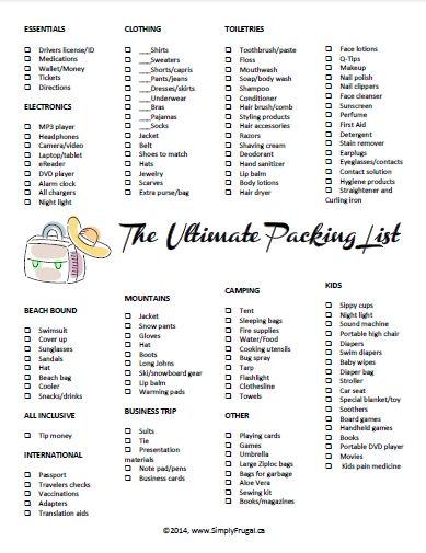 Best 20+ Ultimate packing list ideas on Pinterest | Travel ...