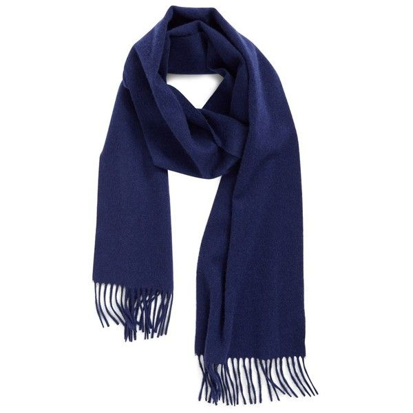 Women's Nordstrom Solid Woven Cashmere Scarf ($99) ❤ liked on Polyvore featuring accessories, scarves, navy midnight, fringe shawl, navy shawl, cashmere shawl, nordstrom scarves and navy blue scarves