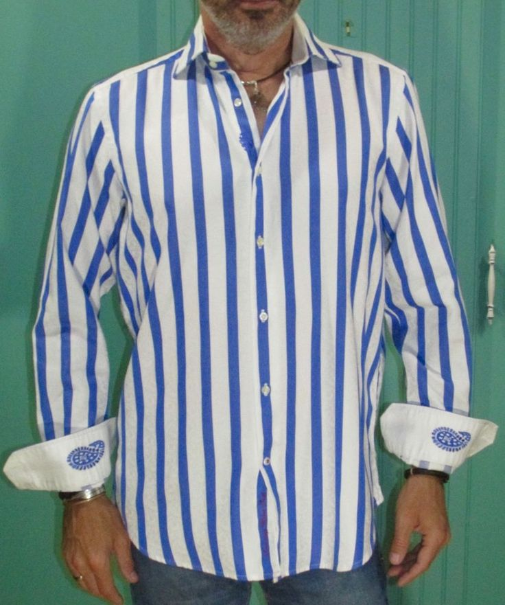 Robert Graham Sport Shirt Blue White Striped Contrast Cuffs #RobertGraham #ButtonFront