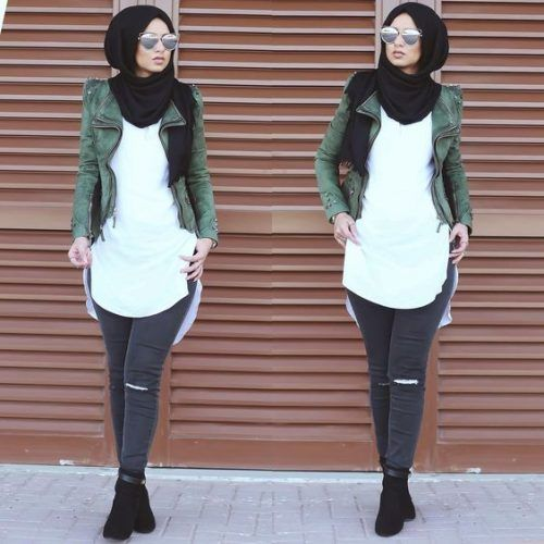 olive leather jacket hijab style- Casual chic hijab 2016 http://www.justtrendygirls.com/casual-chic-hijab-2016/