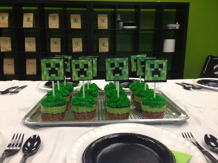 Minecraft Birthday Party Cupcakes