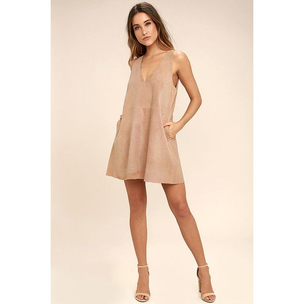 Free People Retro Love Blush Pink Suede Leather Dress ($101) ❤ liked on Polyvore featuring dresses, pink v neck dress, pink suede dress, plunging v neck dress, retro style dresses and plunge dress