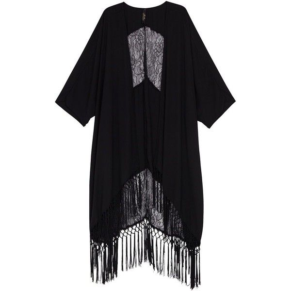 Melissa Mccarthy Seven7 Plus Solid Fringe Kimono ($71) ❤ liked on Polyvore featuring plus size, cardigans and black