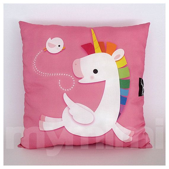 12 x 12 Pink Pillow Decorative Pillow Rainbow Unicorn by mymimi