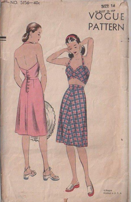 Vogue pattern 5156, Vintage 40's Sewing Pattern Marilyn Monroe Swing Era Halter Top Sun Back Dress, Bare Belly, Midriff, SO UNIQUE!  1944, With bare midriff, backless and sleeveless, fitted bra top with halter strap joins belt across back. 2 piece skirt. Buttoned back closing. Just splendid!