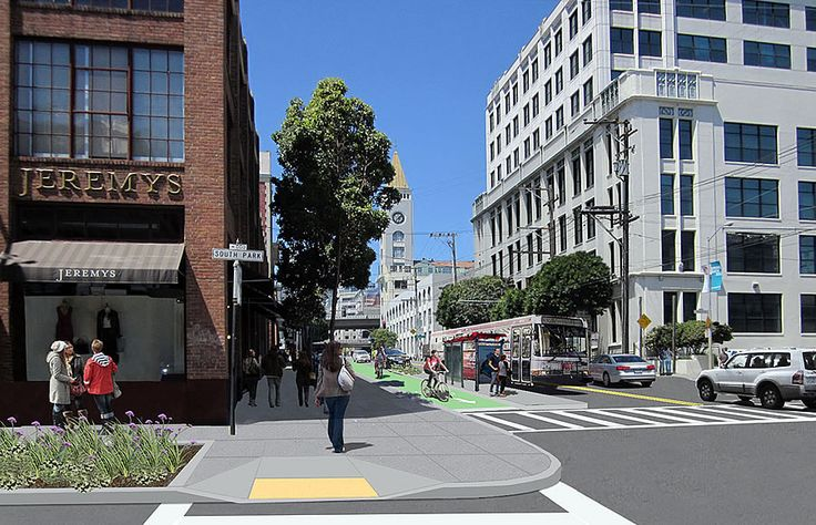 """In the works for over a decade, San Francisco's Second Street Improvement Projectintends to transform Second Street, from Market to King, into a pleasant """"multi-modal corridor"""" and """"green connector,"""" with separated bike lanes (cycletracks) on both sides of the street, sidewalk and streetscape improvements, and a complete roadway repaving."""