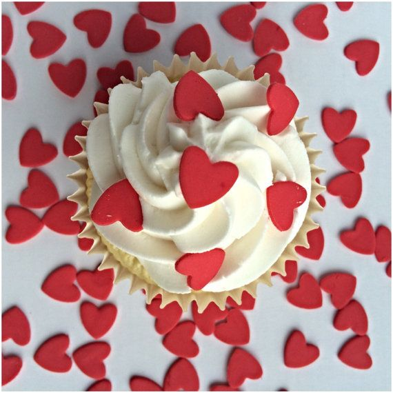 Cupcake Heart Sprinkles 100 Red Sugar Hearts by TheVillageCakeCo
