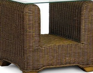 Home Life Direct Wicker Lamp Table Glass Top Cane Conservatory Furniture  Rattan End Table With Shelf