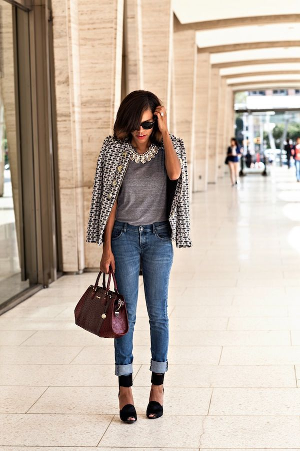 lovely grey tweed blazer outfit 8