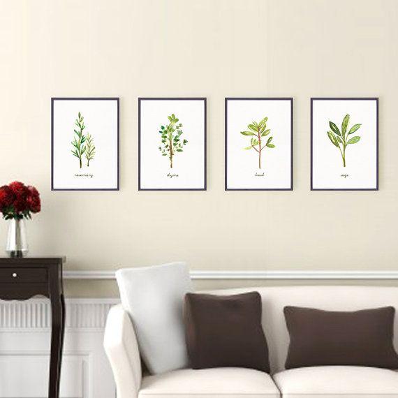 Kitchen art herb print Set of 4 5x7 / 4x6 Watercolor by colorZen