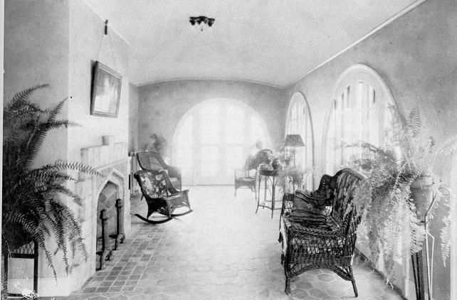 Elegance and flair are characteristics of this hospital sitting room. Taken when Rex Hospital was located on South Street c. 1923.