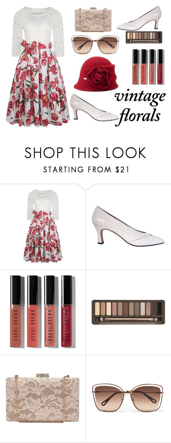 """""""Vintage Florals"""" by fashionpolyvore112num2 on Polyvore featuring Bobbi Brown Cosmetics, Urban Decay, Chloé, Betmar, vintage and vintageflorals"""
