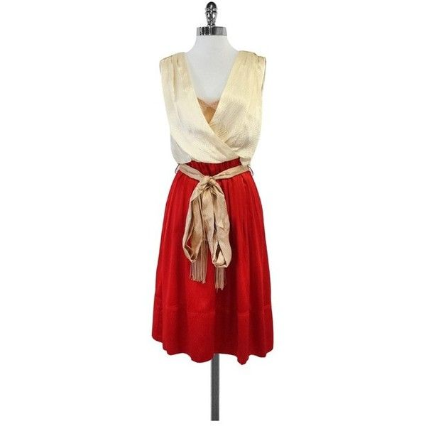 Pre-owned Tory Burch Cream & Red Silk Dress ($149) ❤ liked on Polyvore featuring dresses, cream, going out dresses, night out dresses, red silk dress, red going out dresses and red fringe dress