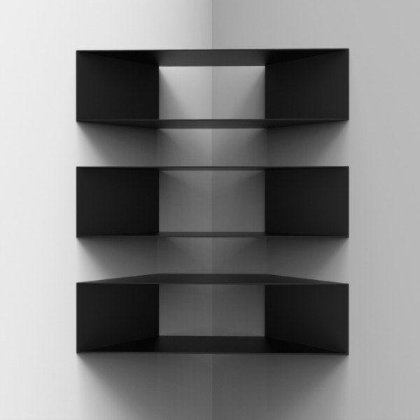 Corner Shelf Designs Black Floating Shelves