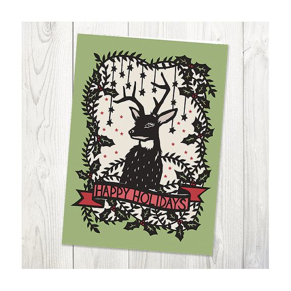 Holly Deer - Folded Christmas Greeting Card - 5x7 - Original Papercut Illustration by SarahTrumbauer on Etsy