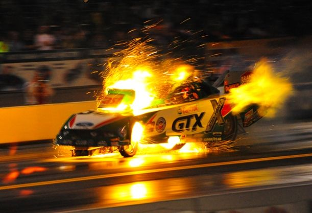 Ashley Force exploding and shredding the body on her nitro funny car at the recent NHRA Toyo Tires Nationals at Maple Grove, Pennsylvania.