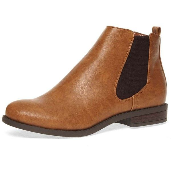 Dorothy Perkins Tan 'bea' chelsea boots ($35) ❤ liked on Polyvore featuring shoes, boots, ankle booties, tan, flat chelsea ankle boots, dorothy perkins, tan chelsea boots, flat boots and flat booties