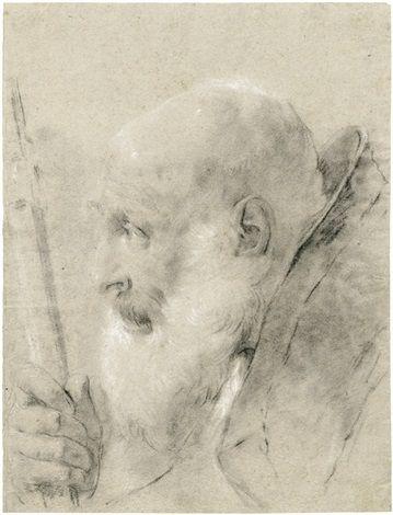 Giovanni Battista Piazzetta (Italian, 1682–1754) - Kopfstudie eines Geistlichen im Profil nach links, mit der rechten Hand einen Stab haltend,   black chalk heightened w/white on paper, 36.4 x 27.6 cm. (14.3 x 10.9 in.)