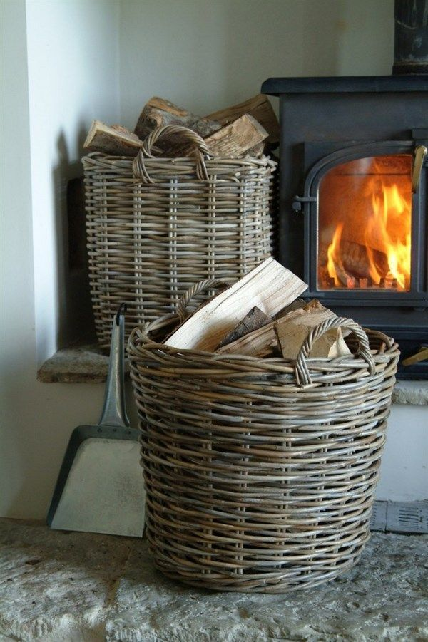 round wicker firewood basket fireplace accessories home decor