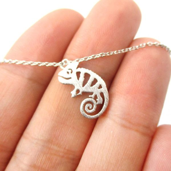 Adorable Pascal Chameleon Shaped Cut Out Charm Necklace in Silver $11.50 #lizards #chameleons #animals #charms #necklaces #jewelry