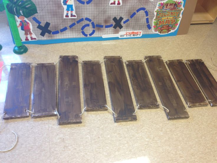 Rope bridge out of stained fabric bolts for Vbs or stage set