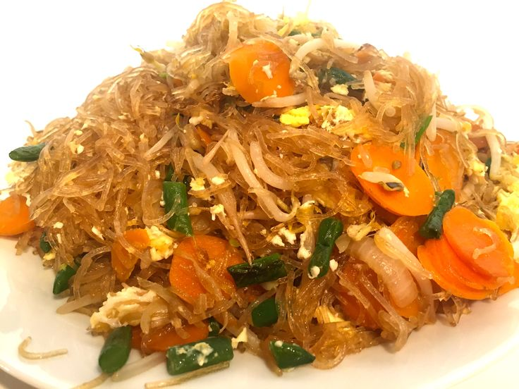 Thai Glass Noodle Stir Fry with Vegetables - Pad Woon Sen