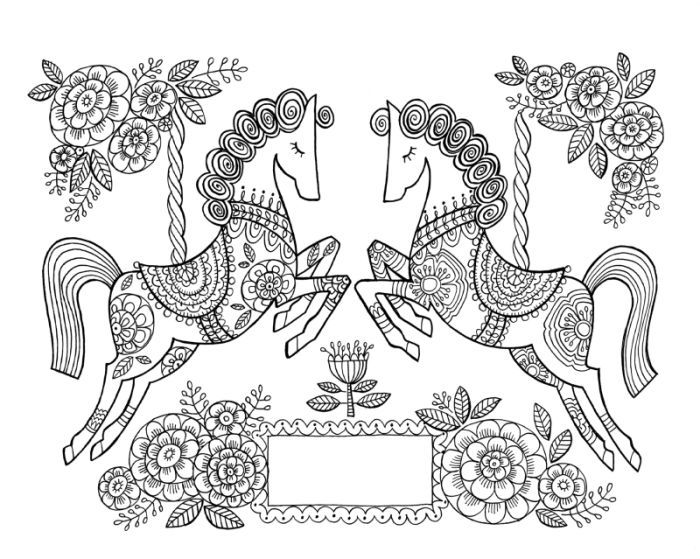 cindy wilde carousel horses cindy wildejpg adult coloringcoloring pagescolouringcarousel