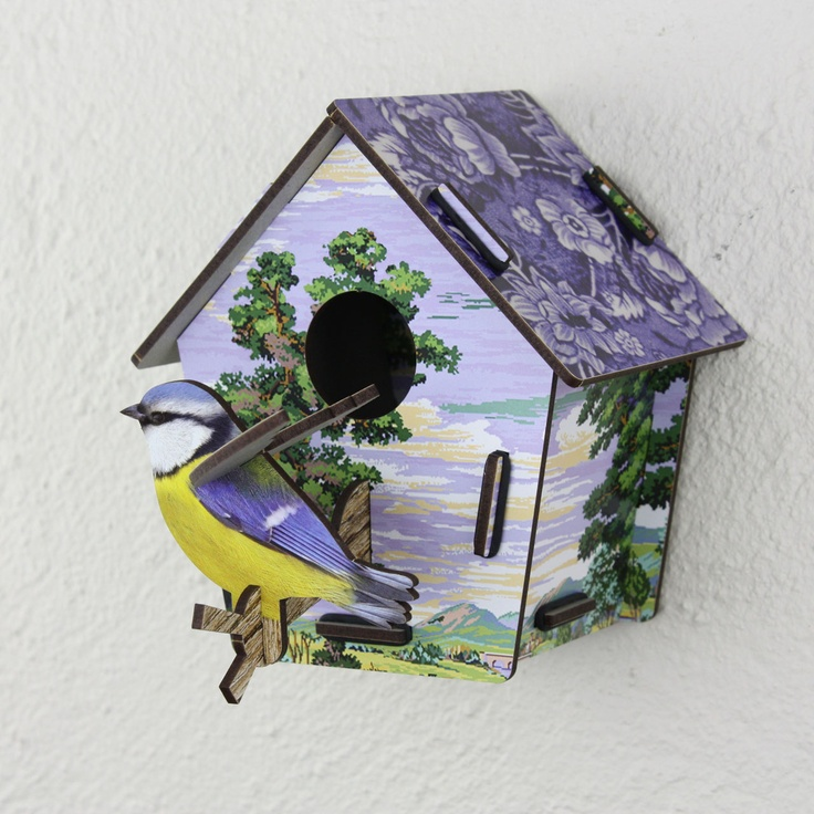 Skylander Bird Box by Miho, from the Juniper Hearth e-Emporium. Painted countryside print with blue and white flowers and Blue Tit. Perfect wall art decor for a nursery. $64.
