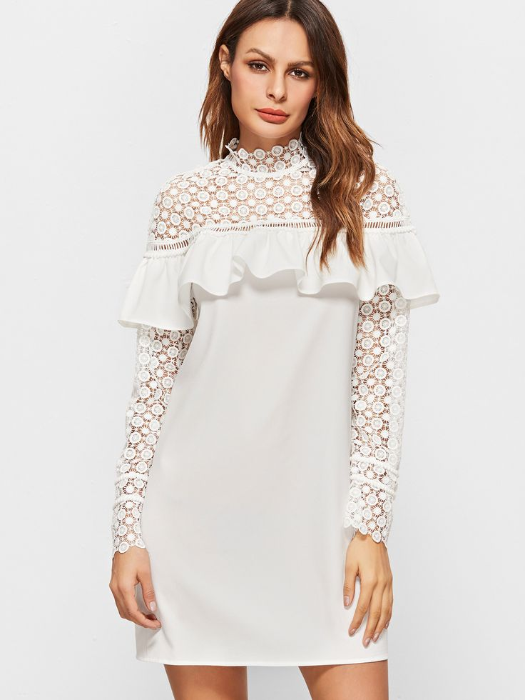 Shop White Sheer Embroidered Lace Shoulder And Sleeve Ruffle Dress online. SheIn offers White Sheer Embroidered Lace Shoulder And Sleeve Ruffle Dress & more to fit your fashionable needs.