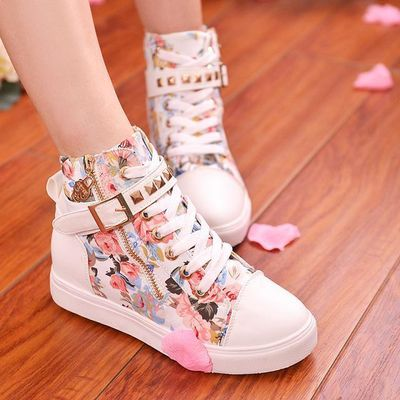 Students floral canvas high help shoes