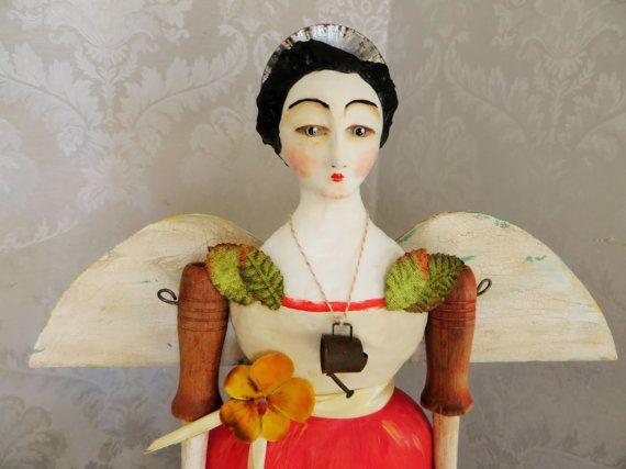 Nostalgic Folk Art,Carol Roll,paper mache mixed media antique Santos style Garden Kitchen Witch,caged doll santos angel