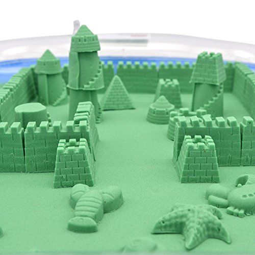 Newisland Kinetic Sand Kit - 2.2pound Green Sand - Blow Up Tray, Molds, Tools and Cute Storage Box Newisland