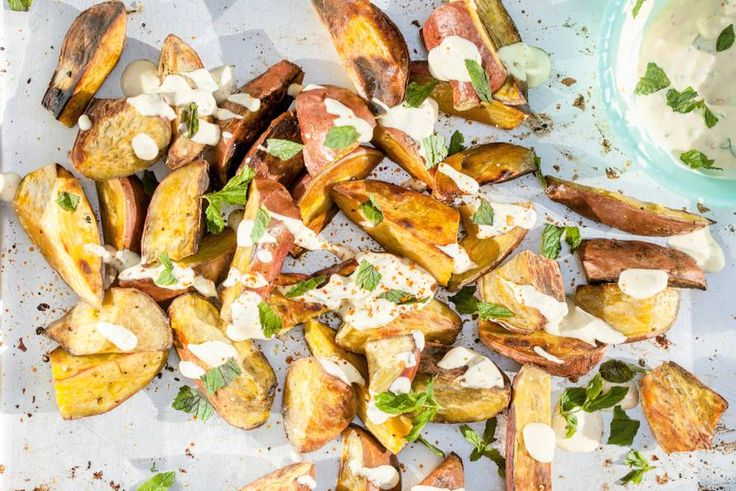 Roasted Sweet Potatoes with Yogurt/Mayo dressing and Chili Pepper (OH! Think of the options! Even with Indian Raita)