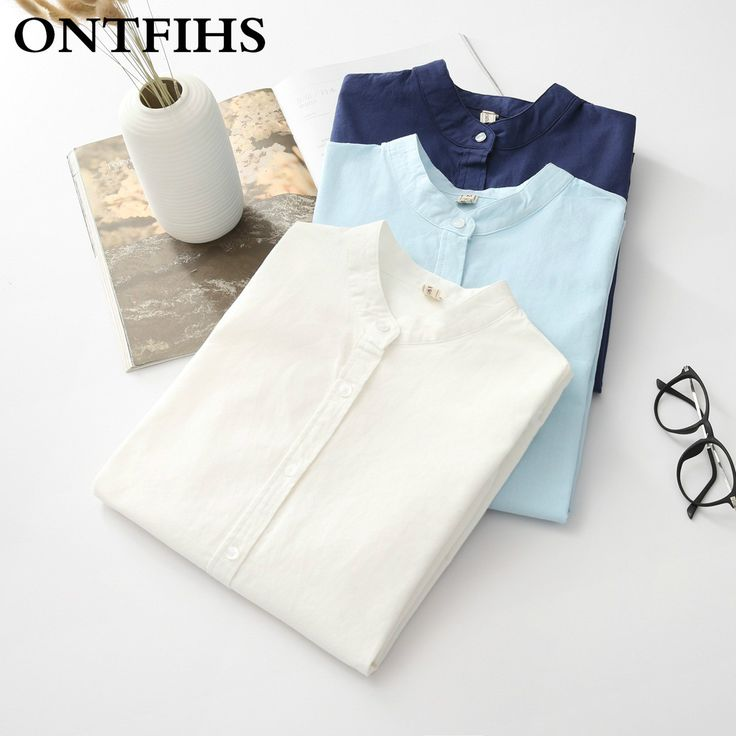 The New  Fashion  Cotton Shirts Mandarin Collar White  Blue Shirt Pure color  Women Long Sleeve Blouse office lady blouse