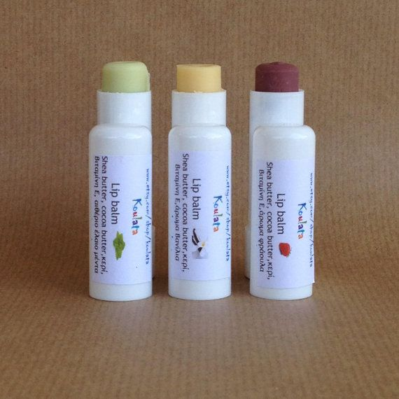 Lip balm, Set of 3! Vanilla, strawberry, mint and beeswax lip balms. Beautiful lips kit, perfect family gift. Smooth and hydrated lips