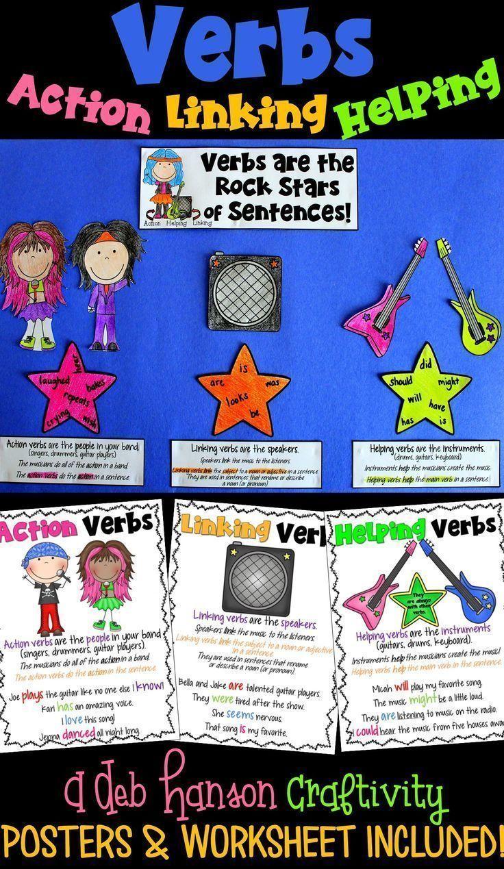 Verbs Craftivity Action Verbs Linking Verbs And Helping Verbs Linking Verbs Helping Verbs Verb Worksheets [ 1269 x 736 Pixel ]