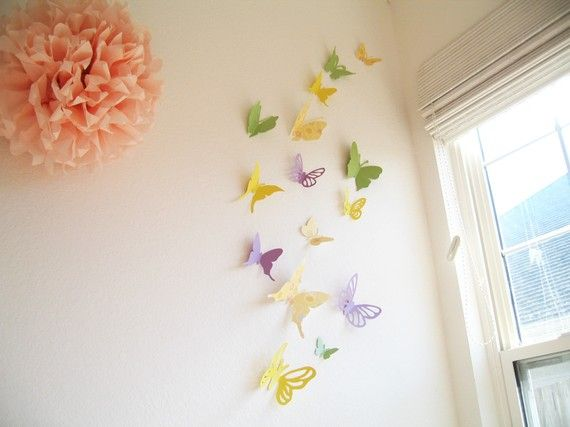 LOVE the butterflies! The paper poms poms are EASY to make and really effective. Take 10-20 sheets, fold back and forth like a fan, trim edges to a point or rounded, tie in the middle then slowly seperate!