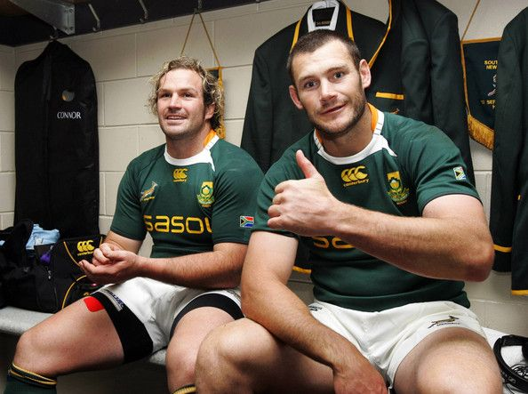 Danie Rossouw Photos Photos - Jannie du Plessis and Danie Rossouw of South Africa pose in the dresssing room after winning the Tri Nations Test between the New Zealand All Blacks and South Africa Springboks at Waikato Stadium on September 12, 2009 in Hamilton, New Zealand. on September 12, 2009 in Hamilton, New Zealand. - New Zealand v South Africa - 2009 Tri Nations