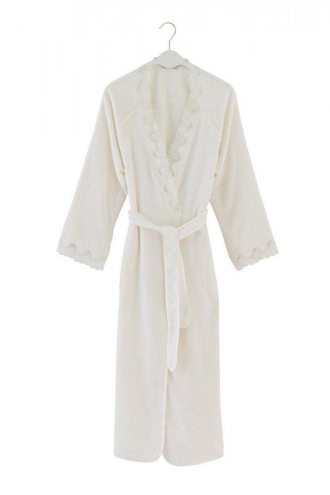 Damski luksusowy szlafrok ANGELIC w ozdobnym opakowaniu. Szlafrok z kieszeniami, z subtelnym haftem na kołnierzu i rękawach.