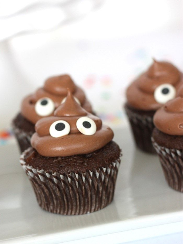 Poop emoji cupcakes from Instagram Emoji Themed Teen Birthday Party from Kara's Party Ideas. See more at karaspartyideas.com!