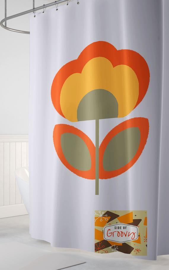 Retro Flower Shower Curtain Retro Shower Curtain Funky Shower