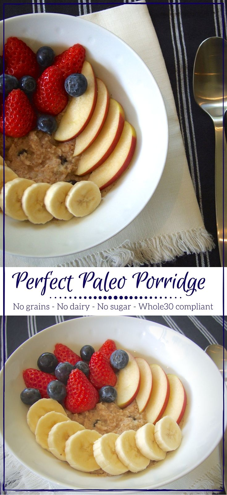 A delicious paleo & Whole30 start to the day - no grains, dairy or refined sugar in this filling hot breakfast bowl. Top with fruit for extra get-up-and-go!