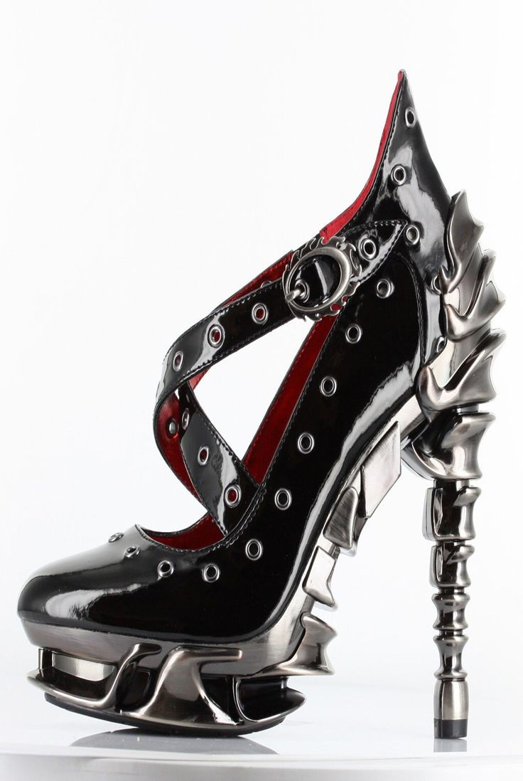 Hades Shoes - Crow - Black Patent - Metal Steam Cyber Goth Heel - Salient Seven