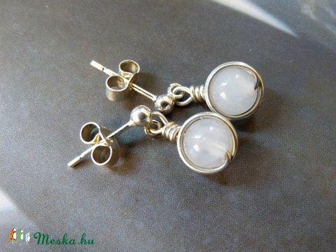 Rózsakvarc ezüst bedugós-lógós fülbevaló, Ékszer, óra, Fülbevaló, Ékszerkészítés, Meska