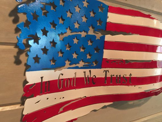 Show your support for your nation by flying this American for all to see. Support your military with this one of a kind piece of American outdoor art. For sale is a handmade distressed and waving American Flag. This piece of art is 22x14 and is cut out of 18 gauge steel. After it is cut, we handcraft the waves then we paint this American Flag with only the best candy paints on the market. It is then finished with a high grade clear coat to protect it from rusting. We personally search for…